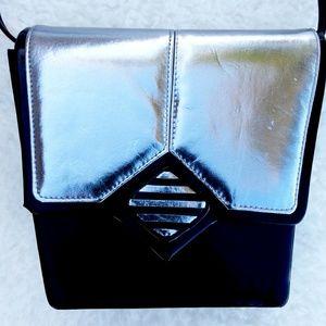 Vintage Black and Silver Shoulder Bag